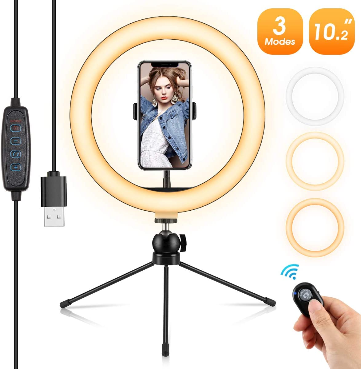 "10.2"" Ring Light, Selfie Ring Light with Tripod Stand and Phone Holder, 3 Light Modes &10 Brightness 120 Bulbs Dimmable Ring Light for YouTube Video/Live Stream/Makeup/Photography"