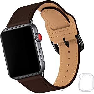 Compatible with Apple Watch Band 38mm 40mm 42mm 44mm, Soft Leather Watch Band Replacement Strap for iWatch SE Series 6 5 4 3 2 1 (Coffee with Black, 38MM/40MM)