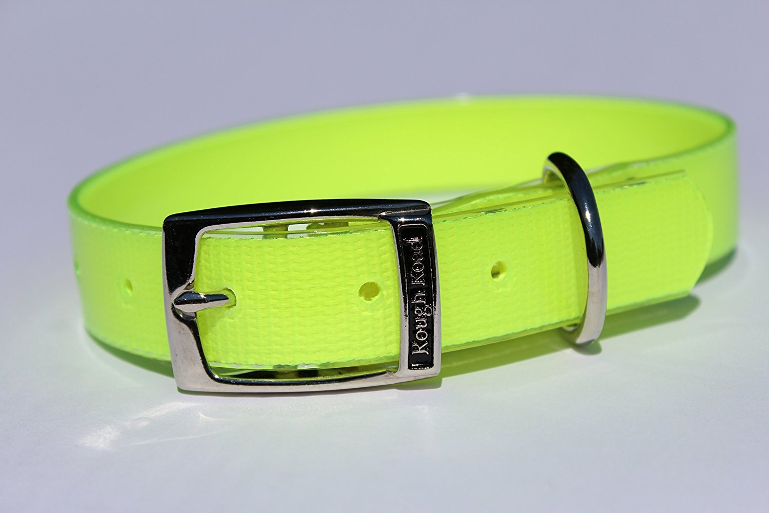 Neon Yellow 1\ Neon Yellow 1\ Rough Road Professional Grade Soft Grip and Poly Coated Nylon Webbing Dog Collar Great for Hunting Training Dog Trials Comes in Multiple colors (1  x 20 , Neon Yellow)