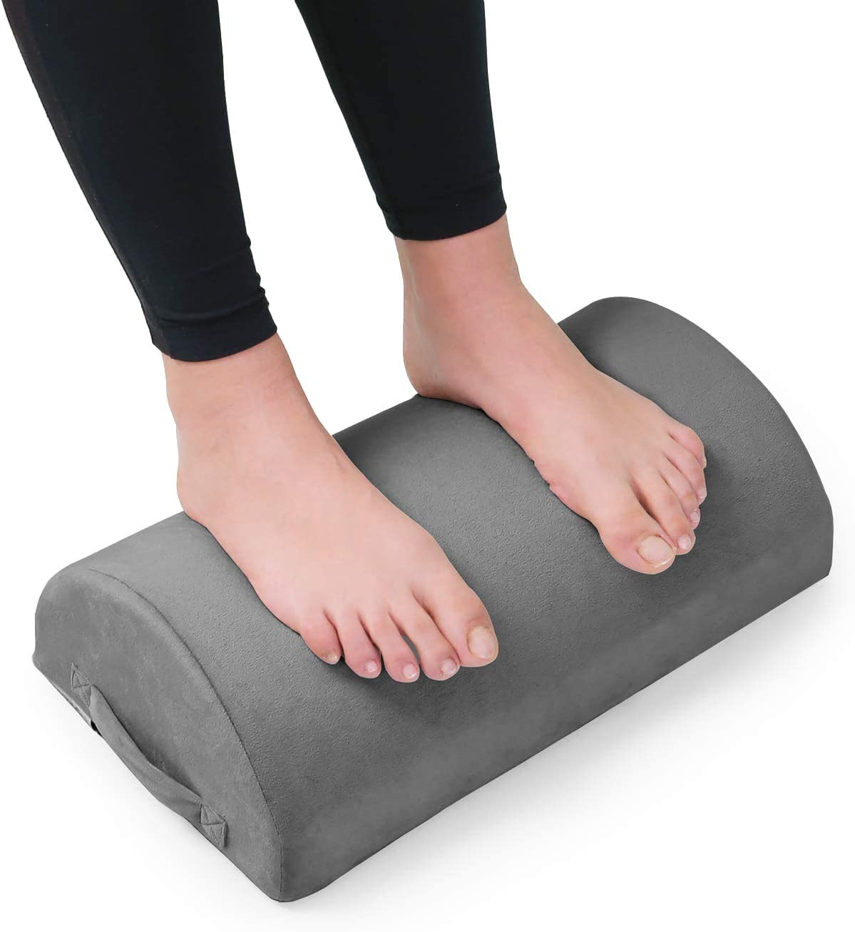 Foot Rest, LightEase Ergonomic Footrest Under Desk Cushion for Work from Home, Office, Gaming, Airplane, Comfortable Memory Foam Foot Pillow with Handle, Washable Cover and Non-Slip Bottom