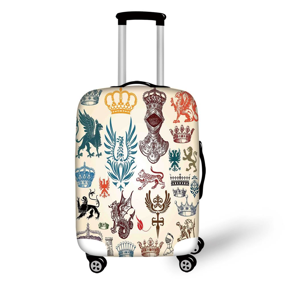 Travel Luggage Cover Suitcase Protector,Medieval Decor,Collection of Medieval Renaissance Icons in Retro Style Baroque Classical Elements Art Print,Multi,for Travel