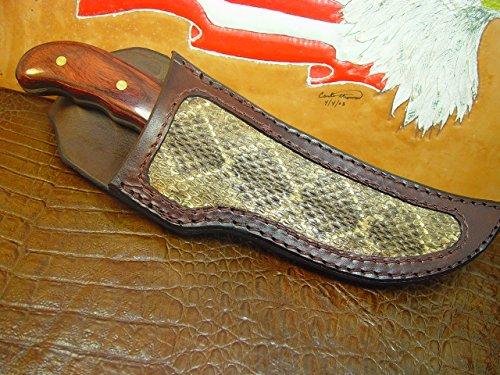 Custom Rattlesnake Inlay Leather Knife Sheath for a Buck 401 Kalinga ()