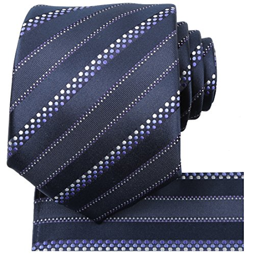 KissTies Mens Necktie Set White Dotted Striped Tie + Hanky + Gift Box, Navy Blue