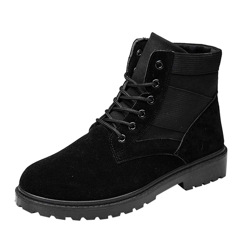 Men Chukka Boot Casual Leather High-Top Outdoor Suede Ankle Walking Shoes (US:7, Black)