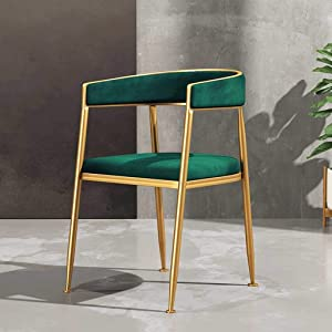 Coffee Chairs, Dining Chairs, Kitchen Chairs Fabric Solid Metal Chairs Suede Seat Dining Room Living Room Bedrooms Shopping Malls Sun Lounger (Color : Green)