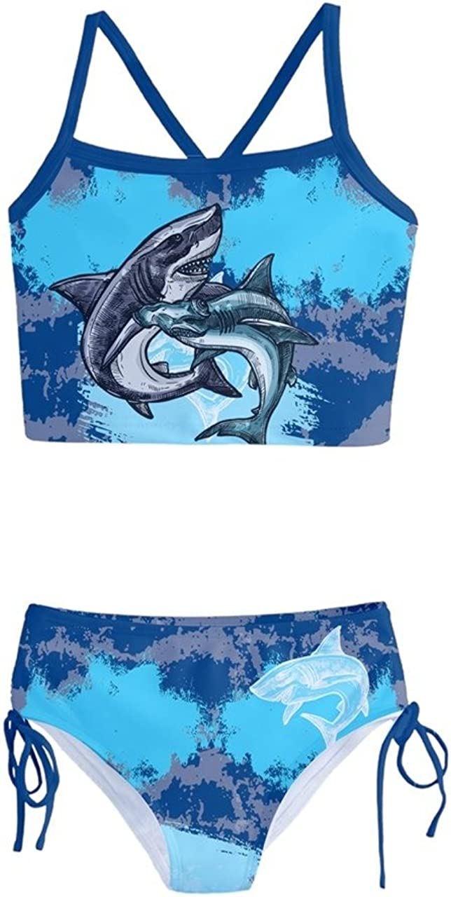 PattyCandy Girls Whale Shark Owls Heart & Face Pattern Tankini Swimsuit Two Piece Set Size 2-16