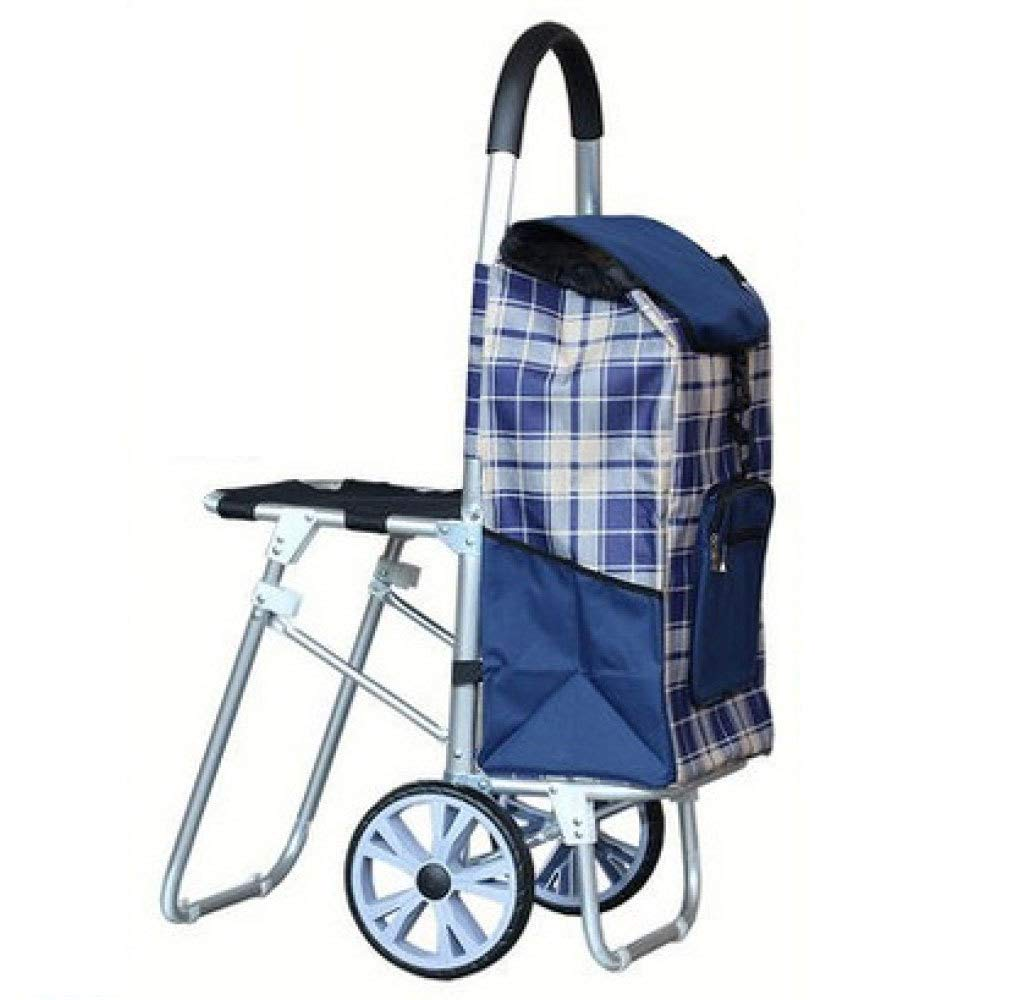 Trolley Shopping Folding Portable with Seat, Blue