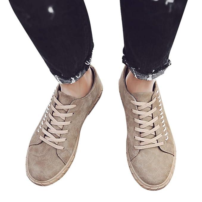 Btruely Hombre Zapatos de Lona con Cordones Zapatos Sólidos de Punta Redonda de Moda para Hombre Zapatos Bajos Zapatillas Deportivas Transpirables Athletic: ...