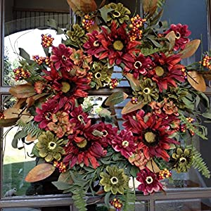 """Silk Flower Arrangements Flora Décor Sunflower Daisy Wreath -24""""- Handcrafted on a Sturdy Grapevine Base. This Wreath is Very Full with Large Sunflower Heads and Gerber Daisies. Great Fall or Spring Wreath."""