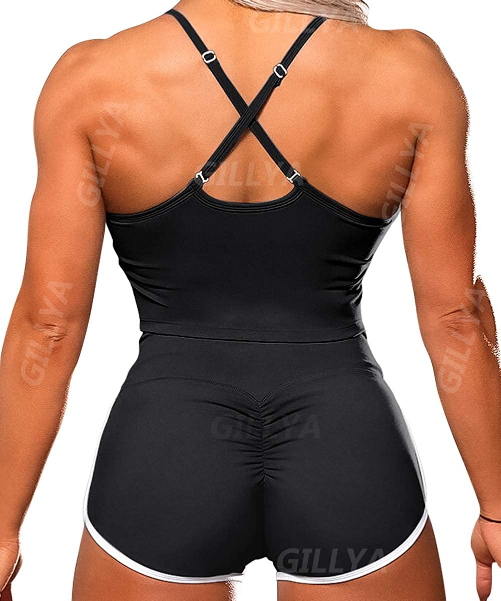 GILLYA Workout Sets for Women 2 Piece High Waist, Gym Tops Scrunch Butt Shorts Sets, Gym Outfits Lifting Booty Shorts Sets