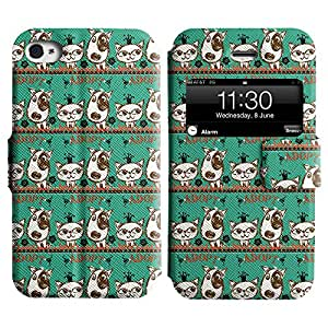 LEOCASE gato y perro Funda Carcasa Cuero Tapa Case Para Apple iPhone 4 / 4S No.1005645
