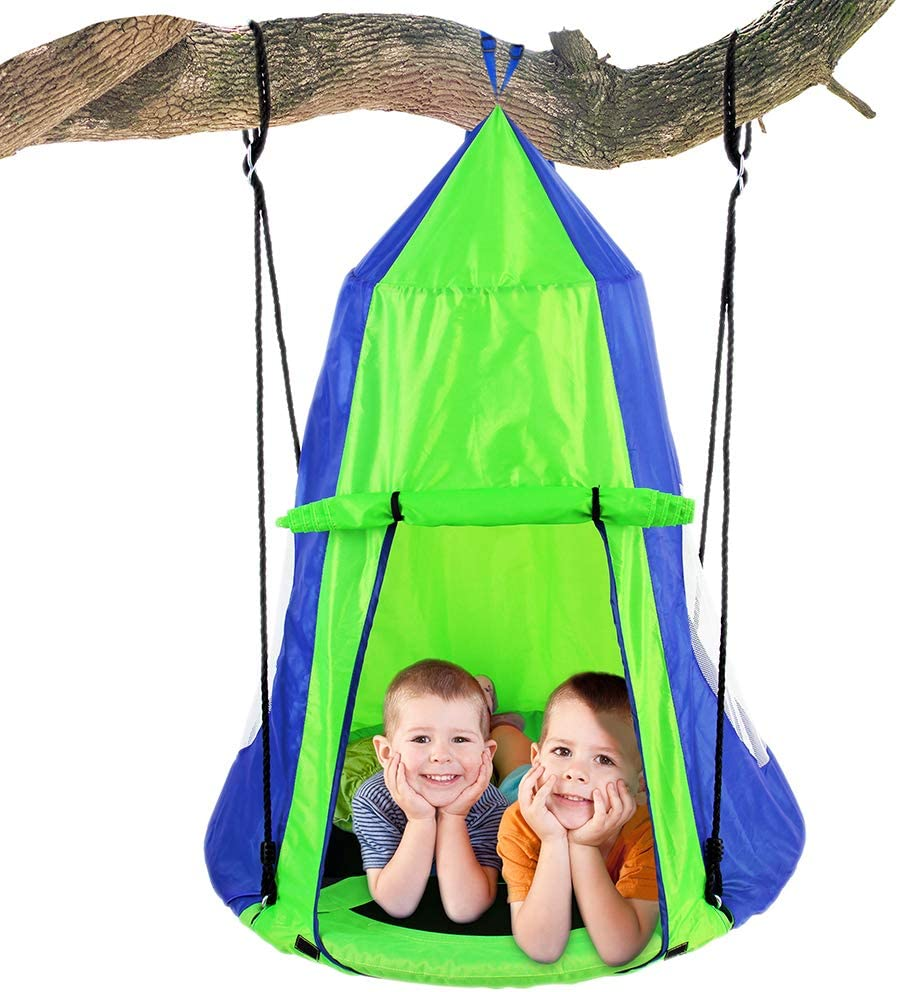SereneLife Kids Hanging Chair Tent Swing