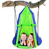 Kids Hanging Chair Tent Swing - Hammock Nest Pod Hanging Swing Chairs Bedrooms/Outdoor Tree/Swing Set - Outdoor Indoor Bedroom Sensory Swing w/Detachable Hangout Play Tent - Serenelife SLSWNG350