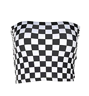 def1c7a240b Cromoncent Women s Wrap Chest Tube Top Checkerboard Strapless Print Tank  Tops Black XS