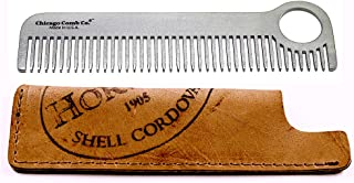 product image for Chicago Comb Model 1 Stainless Steel + Horween Color No. 8 Shell Cordovan Sheath, Made in USA, Ultra-Smooth, Durable, Anti-Static, 5.5 in. (14 cm) Long, Medium Tines, Ultimate Daily Use Comb, Gift Set