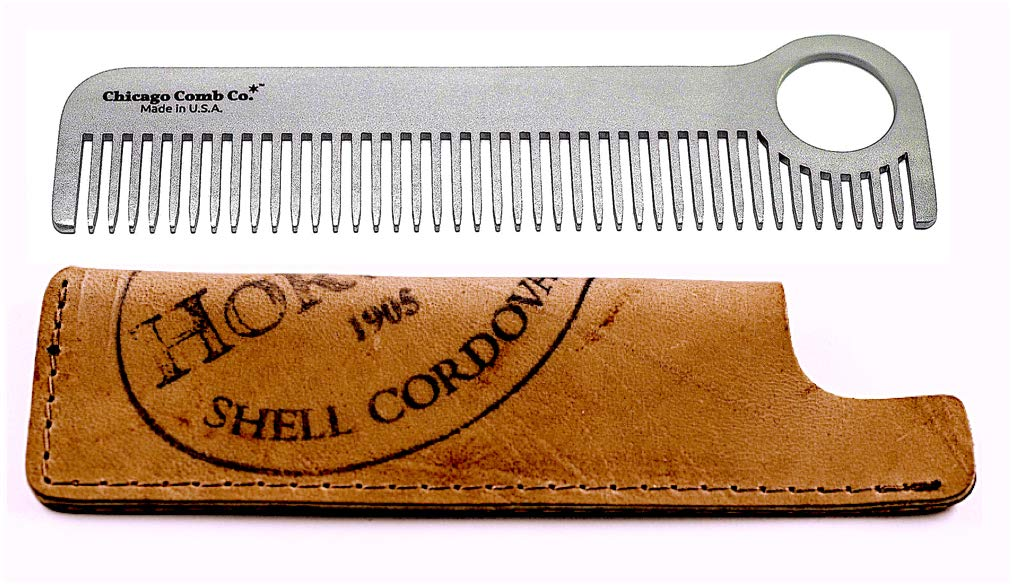Chicago Comb Model 1 Stainless Steel + Horween Color No. 8 Shell Cordovan Sheath, Made in USA, Ultra-Smooth, Durable, Anti-Static, 5.5 in. (14 cm) Long, Medium Tines, Ultimate Daily Use Comb, Gift Set by Chicago Comb