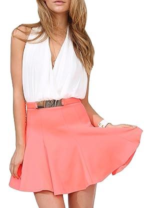 Inlscp Women's Sexy Deep-V Backless Sleeveless Summer Pleated Dress
