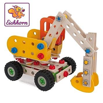100aada88bd06f Eichhorn 100039034 - Constructor Bagger, 175-tlg., Holz-Konstruktions-Set,  5 verschiedene Modellvarianten baubar, FSC 100% Zertifiziertes Buchenholz,  ...