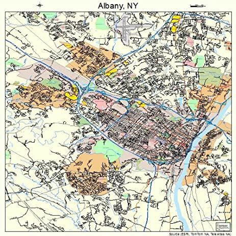Amazon.com: Large Street & Road Map of Albany, New York NY - Printed ...