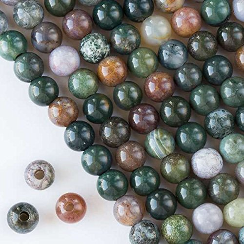 Cherry Blossom Beads Large Hole 2.5mm Drilled Fancy Jasper Beads 8mm Smooth Round - 8 Inch Strand (Fancy Jasper Gemstone)
