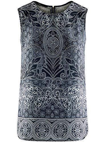 7912e en Femme oodji Fluide Bleu Top Imprim Collection Tissu 7Hwxaq8w