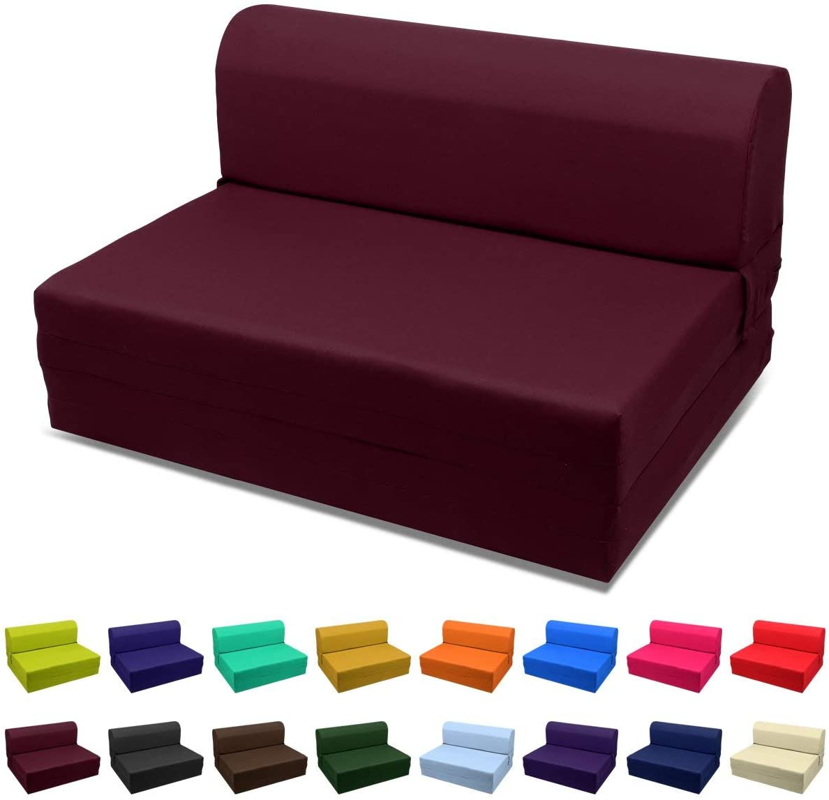 Magshion Futon Furniture Sleeper Chair Folding Foam Bed Choose Color Sized Single Twin Or Full Twin 5x36x70 Burgundy Kitchen Dining Amazon Com