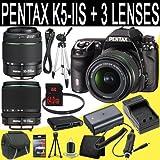 Pentax K-5 IIs Digital SLR Camera + SMC DA 18-55mm f/3.5-5.6 AL Weather Resistant Lens + SMC Pentax DA 50-200mm f/4-5.6 ED Zoom Lens + SMC DA 18-135mm f/3.5-5.6 ED AL [IF] DC Weather Resistant + D-LI90 Replacement Lithium Ion Battery + External Rapid Charger + 64GB SDXC Class 10 Memory Card + 52mm UV Filter + Mini HDMI Cable + Carrying Case + Full Size Tripod + Multi Card USB Reader + Memory