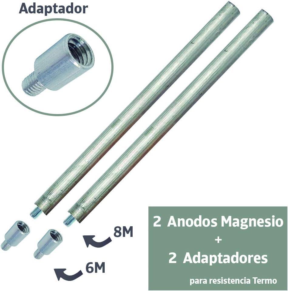 2 Ánodos de magnesio 22x350mm. para termo eléctrico + 2 adaptadores para diferentes roscas M8 a M6 : Ánodo sacrificio para calentador compatible con Cointra, Thermor, Junkers, Fleck, Ariston, Aparici.