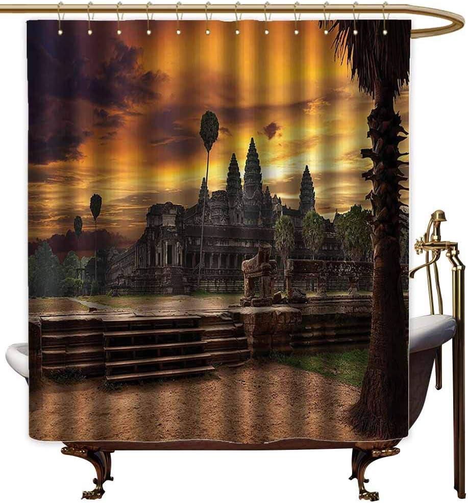 Cortinas de ducha para niños, colección de decoración del hogar, templo del Lejano Oriente alrededor de árboles y otoño, escena asiática mística, Zen, cortina de ducha verde para pequeño mampara de ducha: