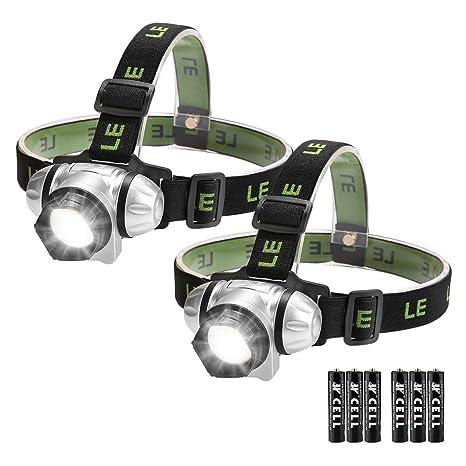 Lighting EVER LE Stirnlampen, 4 Helligkeiten zu wahlen, LED Kopflampe, leicht und superhell, ideal für Wandern, Camping, Ausf