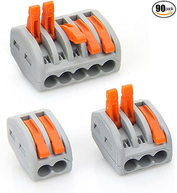 50 Pack, 2 Port 2 Port Lever-Nut Lever Conductor Compact Wire Connectors PCT-212 Terminal Block Wire Push Cable Connector