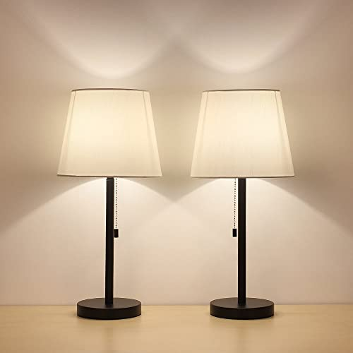 Bedside Table Lamp Set of 2, Modern Nightstand Lamps with White Lampshade, a Pull Chain Switch Black Metal Base for Bedroom Living Room Office College Dormitory Dinning Room Coffee Table Dressers