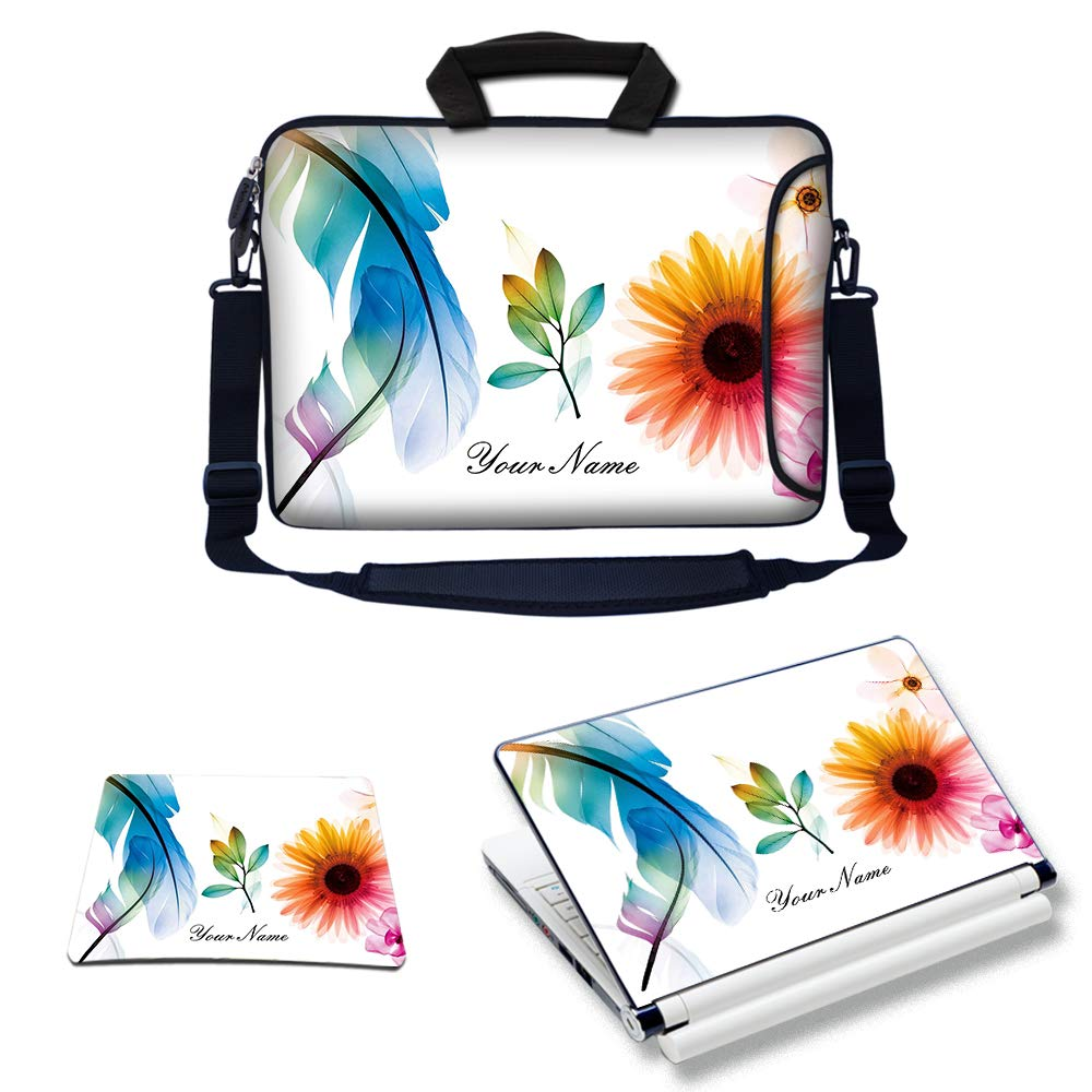 Meffort Inc Custom/Personalized Laptop Bundle Deal - Includes Bag with Side Pocket Skin Sticker & Mouse Pad, Customized Your Name (15.6 Inch, White Flower Leaves)