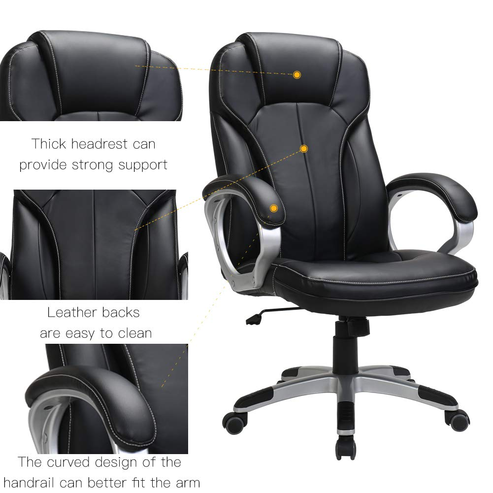 LasVillas Ergonomic PU Leather High Back Executive Office Chair with Adjustable Height, Computer Chair Desk Chair Task Chair Swivel Chair Guest Chair Reception Chairs ... (Black) by LasVillas (Image #4)
