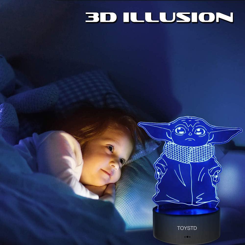 LORDWEY 3D LED Star Wars Nachtlicht 3D Illusionslampe mit drei Mustern und 16 Farbwechsel-Dekorlampe mit Fernbedienung Beste Geschenke f/ür Kinder und Star Wars-Fans