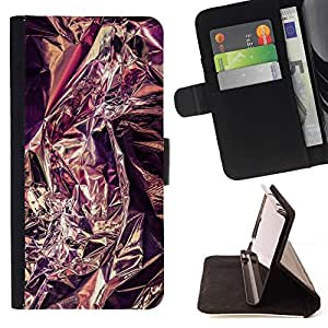 For Samsung Galaxy J1 J100 Case , Plata púrpura del papel de estaño metal reflectante- la tarjeta de Crédito Slots PU Funda de cuero Monedero caso cubierta de piel