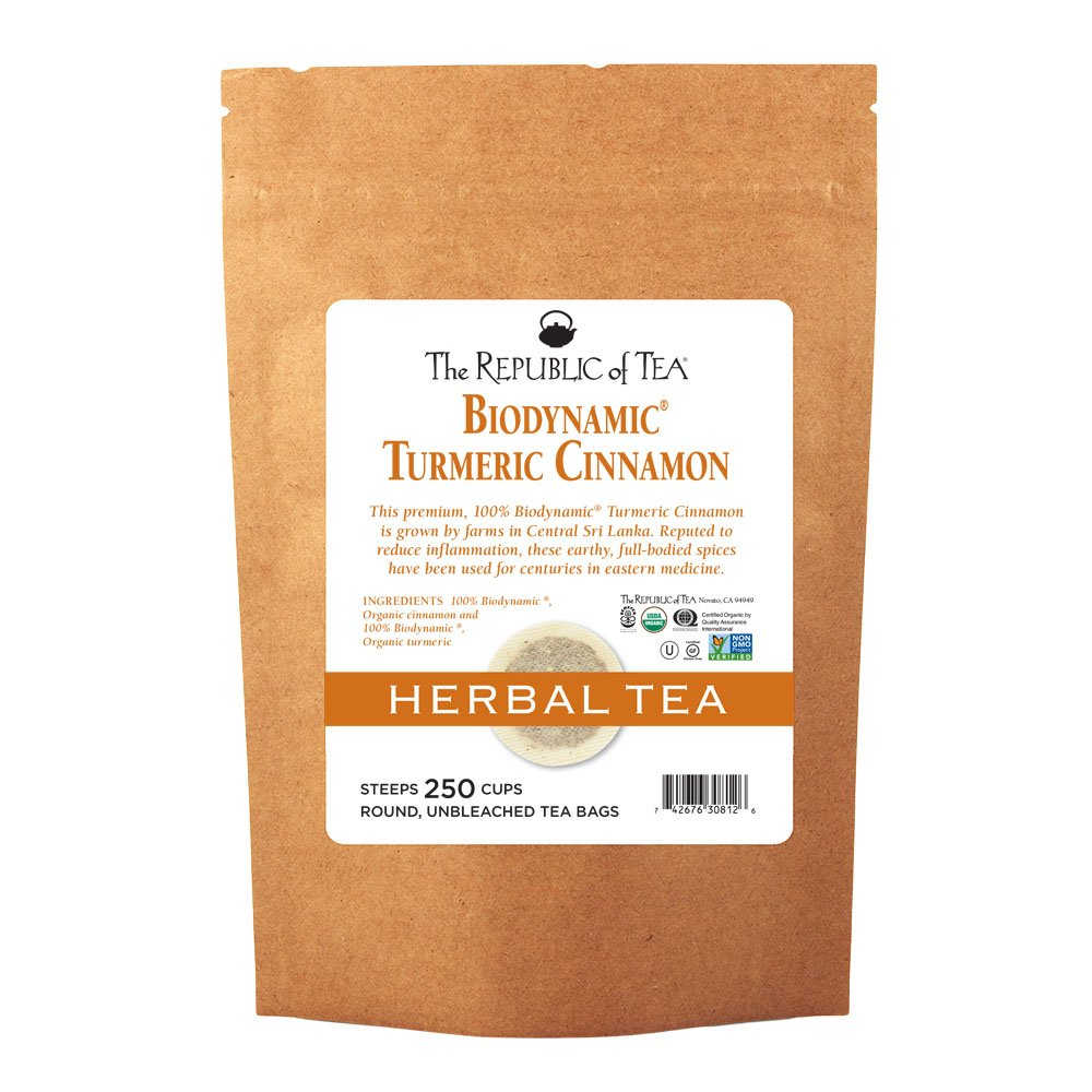 The Republic Of Tea Biodynamic Turmeric Cinnamon Herbal Tea, 250 Tea Bags, Premium 100% Biodynamic Blend