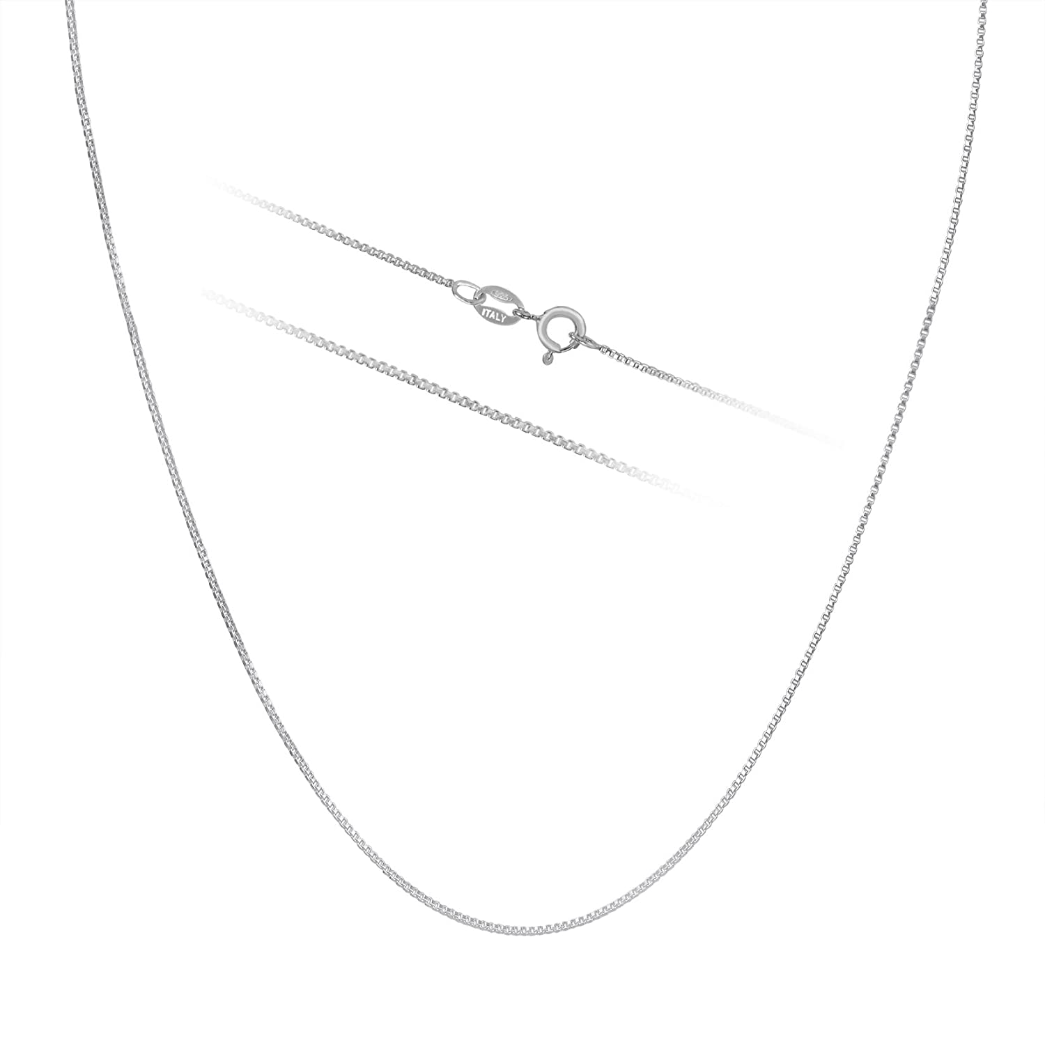Timoo 925 Sterling Silver 0.8mm Box Chain Super Thin Strong Italian Crafted Necklace 14-36 inches Ch6frzxQ