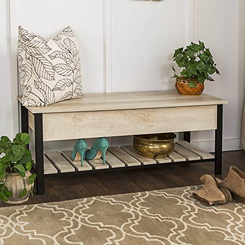 BWO Open-Top Storage Bench, White Oak (Oak Shoe Storage)