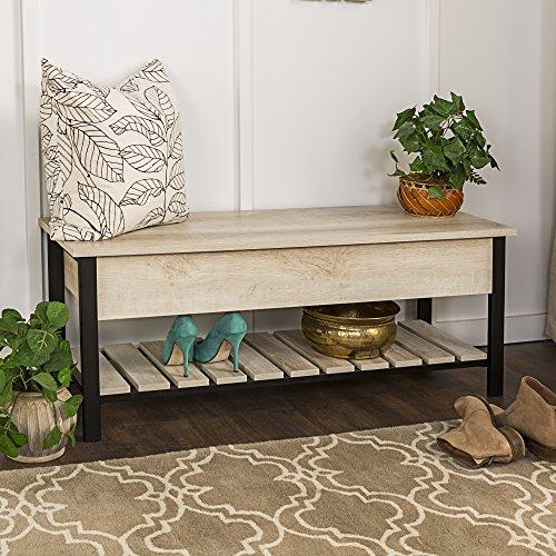 Contemporary Oak Bench - WE Furniture AZ48PCSBWO Open-Top Storage Bench, White Oak