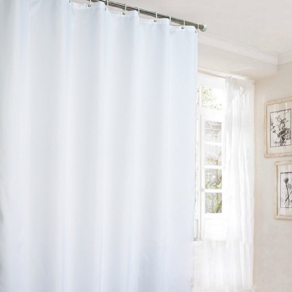 Ufaitheart Hotel Shower Curtain Long Curtains Pure White, Polyester Fabric Extra Long Shower Curtain 72 x 84 Inch