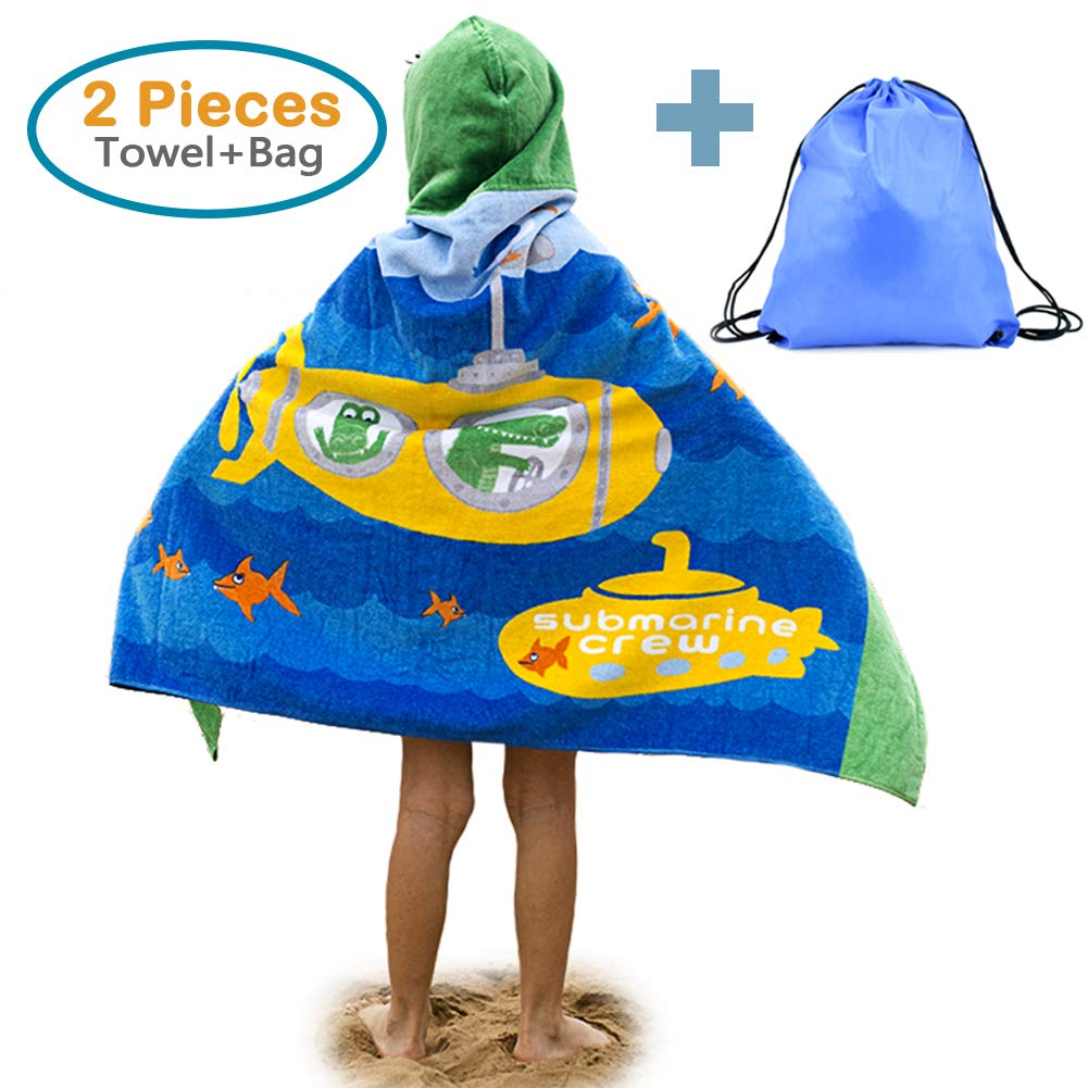 100% Cotton Kids Hooded Beach Bath Towel and Bag Set for Kids Submarines & Crocodiles Pattern 4-14 Years