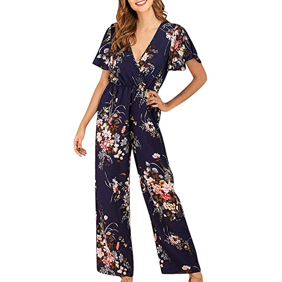 Buy Dgg7 Women Latest Fashion Design Sexy Print Office Ladies Playsuit Short Sleeve Casual Rompers Jumpsuit Dark Blue S At Amazon In