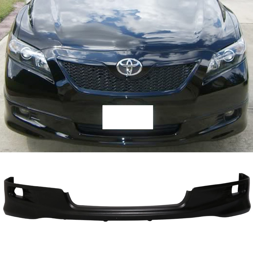 Front Bumper Lip Fits 2007-2009 Toyota Camry | OEM Factory SE Style Black PU Front Lip Finisher Under Chin Spoiler Add On by IKON MOTORSPORTS | 2008