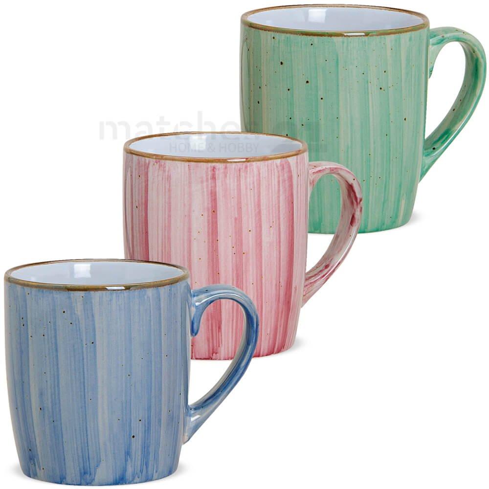matches21 Tassen Becher Kaffeebecher Kaffeetassen Dekor blau pink gr/ün aus Keramik 3er Set je 9 cm 312 ml