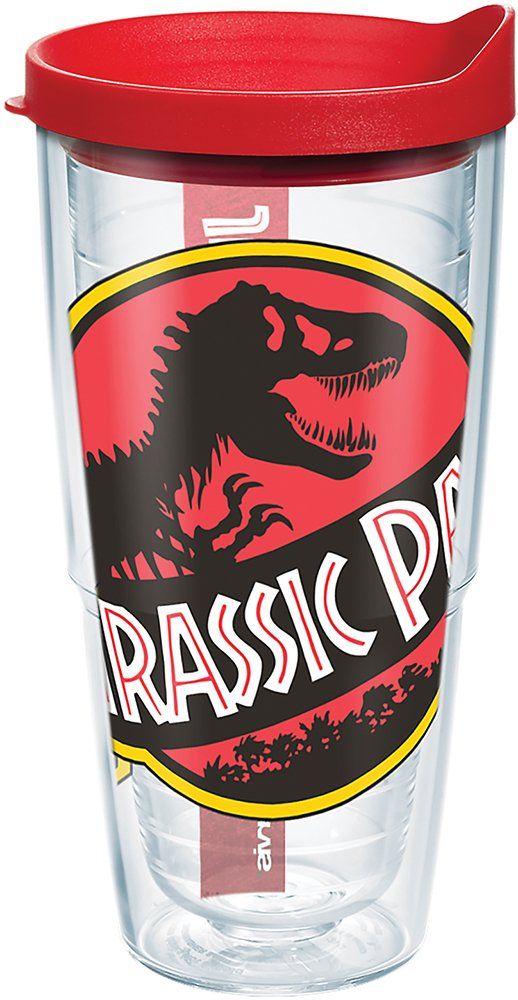 Tervis 1282359 Jurassic Park Logo Tumbler with Wrap and Red Lid 24oz Clear
