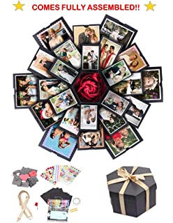 DIY Scrapbook Album Engagement Ring box-Perfect for Birthday Exploding Surprise Gift box Valentine Lovebox Wedding Gifts- Fully Assembled ET Treasures: Premium Explosion Box with Colorful Lights