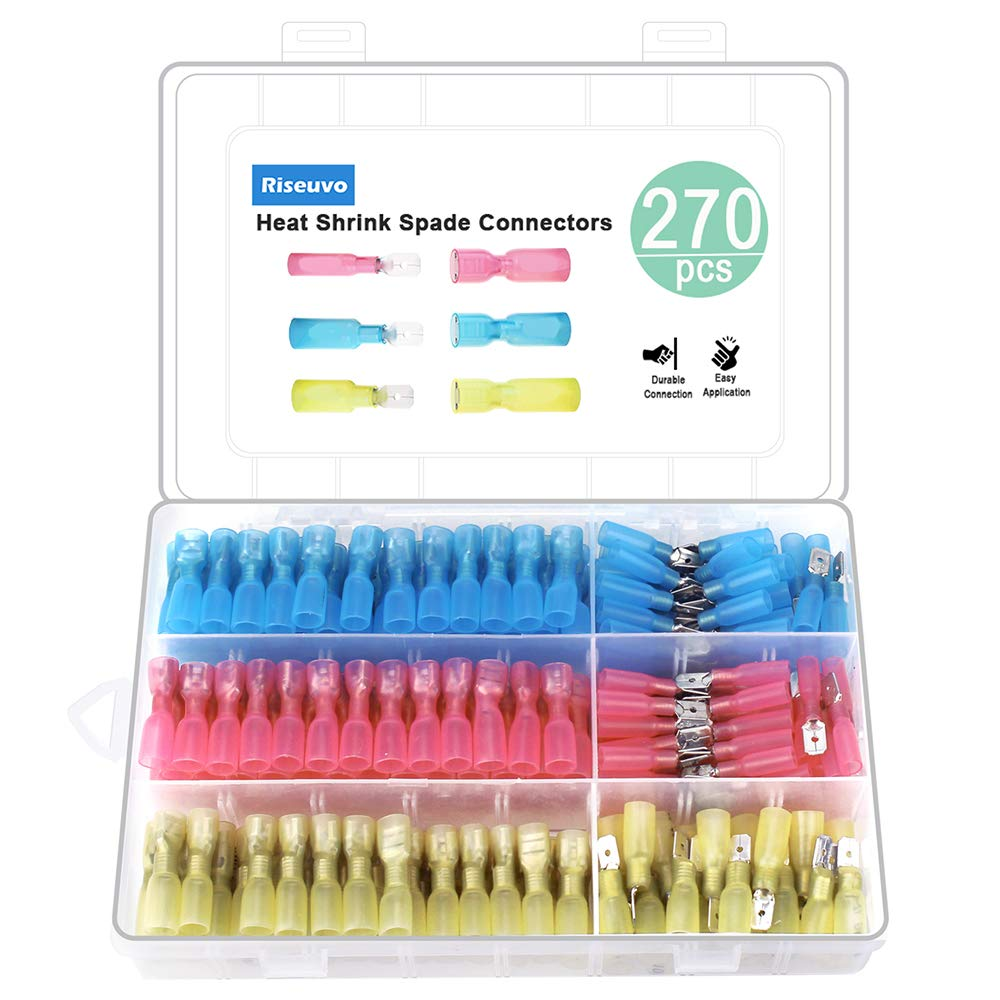 270pcs Heat Shrink Spade Connectors - Wire Spade Connectors, Electrical Spade Terminals, Quick Disconnect Crimp Connector Kit by Riseuvo