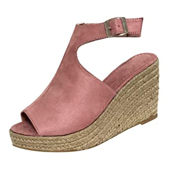 9685842720 Women Roman Style Wedges, lkoezi Lady Straw Cool Shoes Fashion Solid Buckle  Strap Sandals Wedge Casual Shoes
