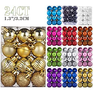Emopeak 24Pcs Christmas Balls Ornaments for Xmas Christmas Tree – 4 Style Shatterproof Christmas Tree Decorations…